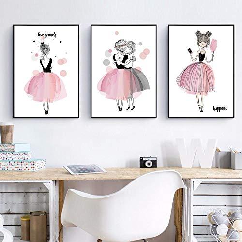 Poster da parete con stampa artistica su tela per ragazze ad acquerello, Immagini a parete per la decorazione della stanza della ragazza, Decorazione murale giclée 40x60cm * 3/Senza cornice