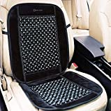 Zento Deals Black Wooden Beaded Plush Velvet Seat Cover Premium Quality Ultra Comfort Massage Cool Car Seat Cushion 35'x17'