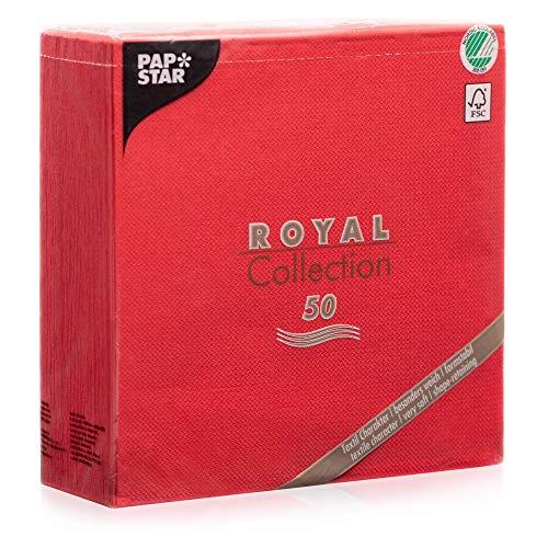 """Papstar Servietten / Tissueservietten rot """"Royal Collection"""" 40 x 40 cm, 1/4-Falz, Stoffoptik, nachhaltig, für Gastronomie, Haushalt und Feste, FSC-zertifiziert, #11607, 1 X 50er Pack"""