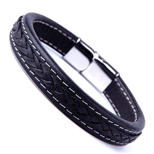 Elegant Schwarz Manschette Echt Leder Armband für Herren mit eleganten 316L Edelstahl Schließe