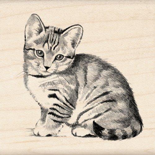Inkadinkado Kitten Wood Stamp for Scrapbooking, 2.25'' W x 2.25'' L