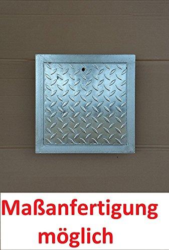 Schachtabdeckung Kanalabdeckung Stahl verzinkt begehbar 80 x 80 cm Trändenblech Kanaldeckel mit Rahmen Gullydeckel, Brunnendeckel mit Rahmen Schachtdeckel NEU