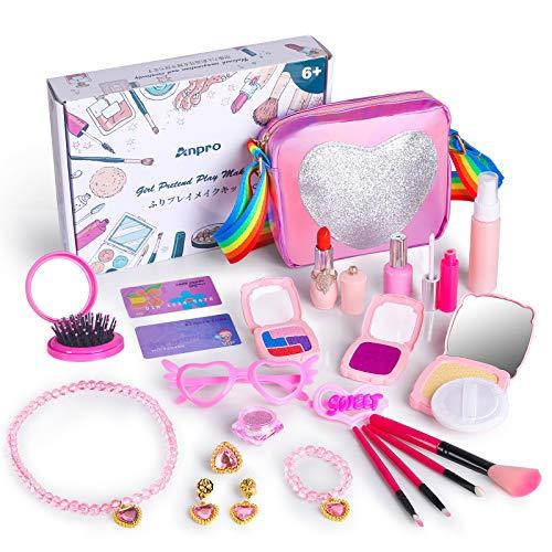 Anpro 23 PCS Maquillaje Niñas Modelo Falso,Maquillaje Set Infantil,Regalo Princesa para Niñas en Fiesta,Cumpleaños,Navidad (Juguete Falso de Maquillaje,Modelo Cosmético)
