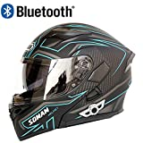 Slsy Bluetooth Integrated Helmets Motorcycle Modular Helmet, DOT Approved Flip up Full Face Helmets with Dual Visors for Adult, Men, Women, Riders.