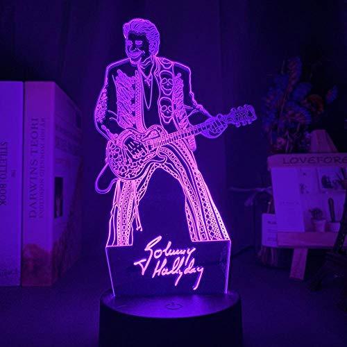 Luz nocturna 3D colorida Led Johnny Hallyday Guita figura noche para fanáticos decoración de la habitación del club mesa de batería USB-7_Color_No_Remote