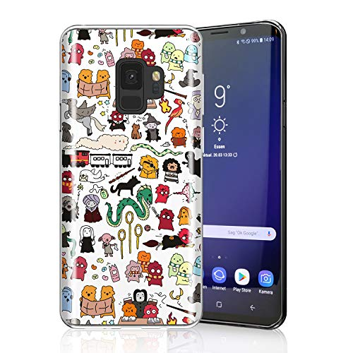 ZQ-Link Adorable Case for Galaxy S9, Raised Edges Lightweight Flexible Soft TPU Protective Cell Phone Cover for Samsung Galaxy S9 Kawaii Harry Potter Doodle