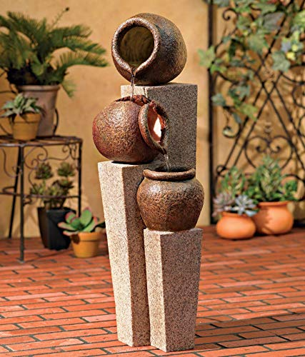 John Timberland Three Urn and Pillar Cascade35 1/2' H Outdoor/Indoor Fountain