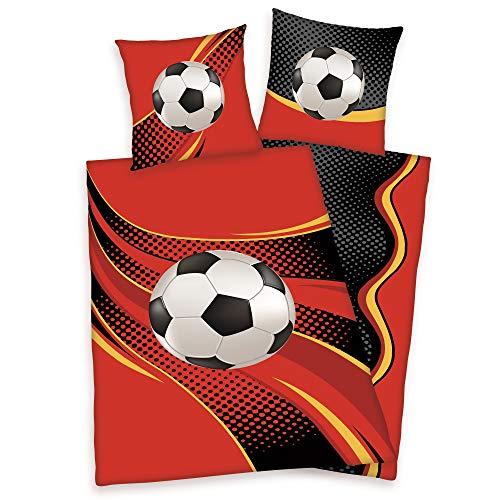 Herding Bettwäsche Fußball Kissenbezug 80 x 80 cm und Bettbezug 135 x 200 cm, 100% Baumwolle