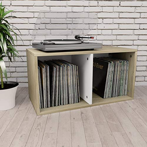 Unfade Memory Vinyl Record Storage Cube Stackable LP Album Shelf, Chipboard Bedside Tables 28'x13.4'x14.2' (White and Sonoma Oak)