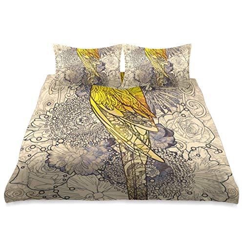 Duvet Cover,Parrot Line Art Yellow Colored On,3 Pieces Microfiber Bedding Set Ultra Softness Comfortable Modern Design