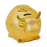 ZAKRLYB Taurus Piggy Bank con manta en la suela del pie, adornos de almacenamiento de monedas de cerámica, ahorrar dinero, ahorrar gran capacidad, adecuado para regalos de decoración de estudio de dor