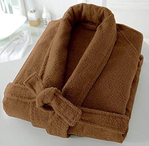 BellaCasa Casabella - Albornoz de Rizo de 500 g/m², 100% algodón, algodón, marrón Topo, S/M