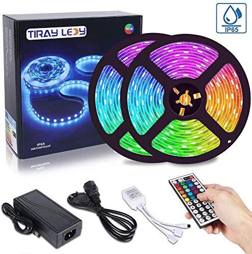 Tiray Ledy 10 m LED Strip, Wassrdichte LED Streifen RGB 5050 300 LEDs,farbänderbares LED Lichtband für Zuhause ,mit programmierbarer IR Fernbedienung, für draußen, Party, Dekoration