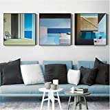 agwKE2 Blue Art Set Print Poster Abstract Blue Swimming Canvas Painting for Living Room Nordic Wall Art Mural Cuadros Decor 50x50cmx3 sin Marco