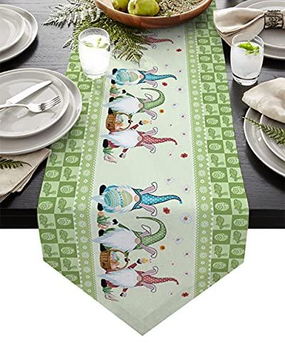QAZQAZ Huevo de Pascua Conejito Gnomo Caminos de Mesa Manteles Modernos Decoración de Fiesta Camino de Mesa Decoraciones de Pascua para el hogar-46x183cm