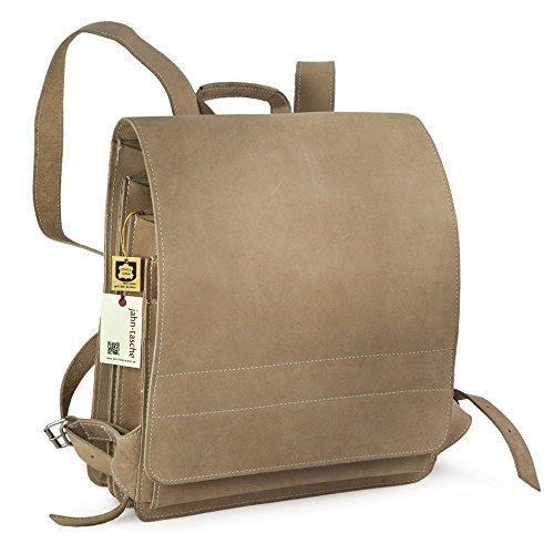 Sehr Großer Lederrucksack/Lehrerrucksack Größe XL aus Büffel-Leder, für Damen und Herren, Creme Beige, Modell 670