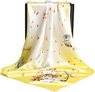 Happy-L New 90cm Floral Print Bird and Butterfly Scarf Holiday Sunshade Shawl Retro Square Scarf (Color : 01)