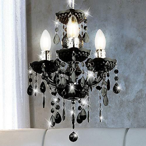 Kronleuchter Decken Hänge Lampe schwarz Wohn Zimmer Kristall Pendel Beleuchtung