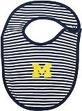 University of Michigan Wolverines Block M Striped Newborn Bib,Navy/White,Newborn