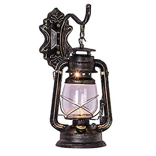YYHJ Antike Eisen Petroleumlampe Wand Kerzenhalter Retro Laterne Öllampe Glas Wandlampe Schlafzimmer Restaurant Bar Café Gang Treppe (Bronze)