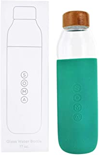 Soma - Glass Water Bottle with Easy Grip Protective Sleeve Emerald - 17 oz.