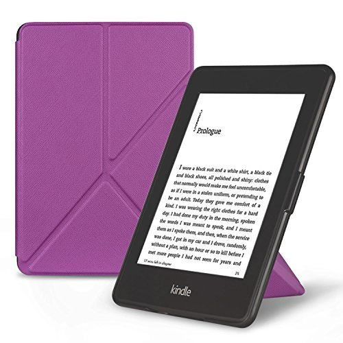 OMOTON Smart Case Cover -- Origami Stand Folio Style PU Leather Smart Cover for your All-New PPW E-book Device (Fits Versions: 2012, 2013, 2014 and 2015 All-new 300 PPI Versions), Classic Purple