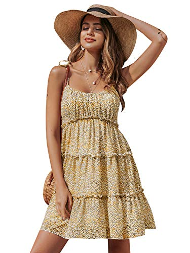 BerryGo Women's Boho Floral Fit and Flare Ruffle Dress Backless Aline Dress