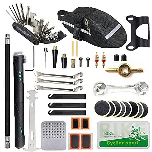 EDIONS Kit de reparación de bicicletas, herramienta de reparación de parches portátiles para bicicleta de camping con bolsa de reparación de bicicletas y bomba de neumáticos de bicicleta