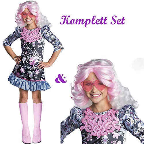 Savahe Monster High Viperine Gorgon Kostüm & Perücke Kinder / Karneval Fasching Hippie Party (140/146 Gr. L)