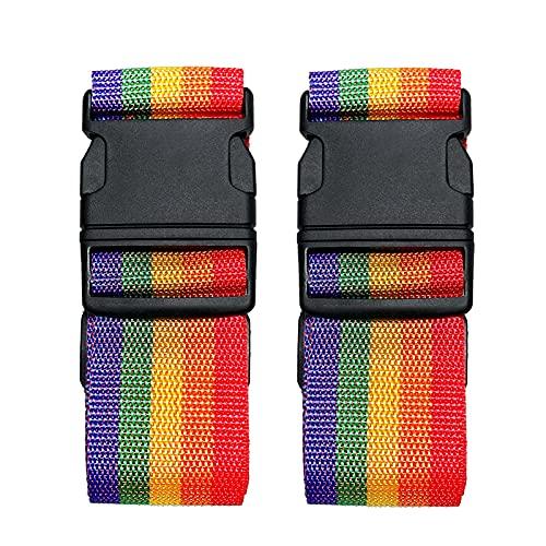 Paquete de 2 cinturones de maleta, correas de equipaje ajustables, correas de viaje de colores brillantes con hebilla de liberación rápida (Rainbow)