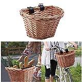 LifeBest Cesta de Mimbre para Bicicleta Cesta Delantera de Bicicleta Vintage con Correas de Cuero Artificial Cesta de Mimbre Vintage para Bicicleta
