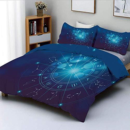 Juego de funda nórdica, tabla de nacimiento de adivinación Signos del zodiaco en el espacio Imagen geométrica Decorativo Juego de cama decorativo de 3 piezas con 2 fundas de almohada, azul turquesa y
