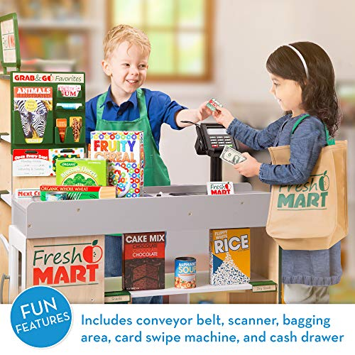 Melissa & Doug Wooden Fresh Mart Grocery Store - The Original (Freestanding Grocery Stand Kids Toy, Great Gift for Girls & Boys - Best for 3, 4, 5, 6, 7 Year Olds and Up)