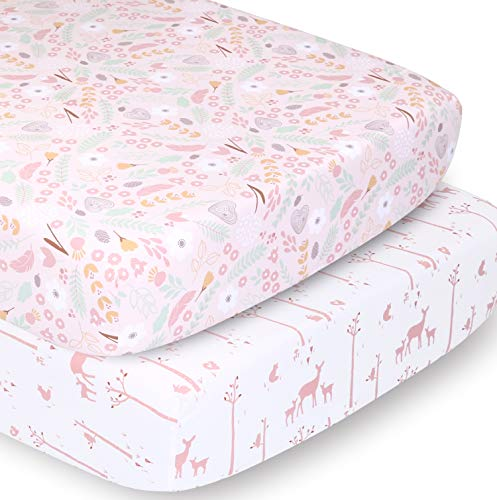 The Peanutshell Crib Sheet Set for Baby Girls | Pink Floral and Woodland Whimsy | 2 Pack Set