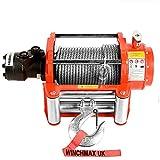 Winchmax 10000 lb / 4536 kg Cabrestante hidráulico en naranja original. Incluye alivio de tensión, cable de acero galvanizado de 25 mx 9,1 mm. Gancho de horquilla de 3/8 de pulgada.