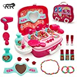 Kiddie Galaxia® Beauty Make up case and Cosmetic Set Suitcase with Makeup Accessories for Children Girls- Pink, Plastic, Pack of 1 Set (Made in India)(Toys & Games)
