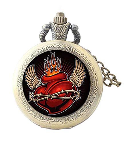 Elf House Vivid Tattoo Herz mit Flamme und Flügeln Illustration Taschenuhr, personalisierte Glas-Taschenuhr, einzigartiges Geschenk