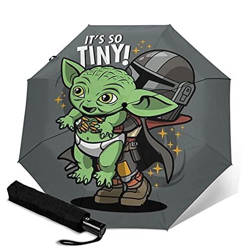 Baby Yoda Star The Wars - Paraguas de mandalorian plegable automático con...
