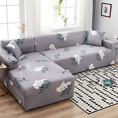XVBABY Jacquard-Stretch-Sofabezuglazy Man All-Inclusive-Universal-Sofabezug, Elastischer 4-Jahreszeiten-Universal-Sofabezug Doppelsitz (145-185 cm) Hellgraue Blätter