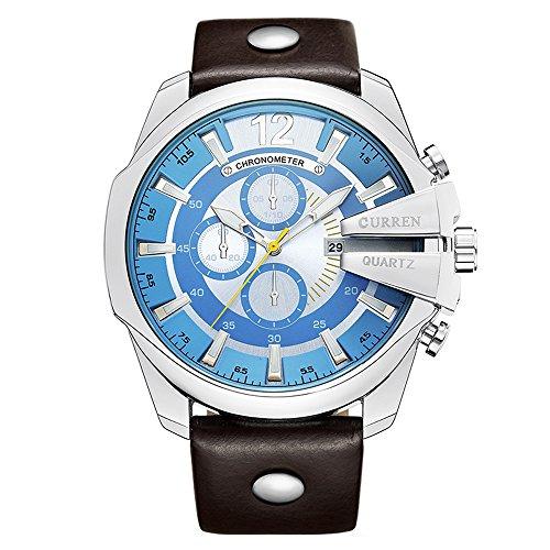 Curren 8176 Wasserdichte Herren-Armbanduhr, rundes Zifferblatt, Quarz, mit Lederband, Sportuhr