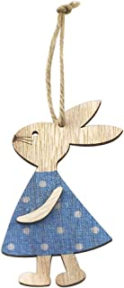 Goolfly Wooden Bunny Pendant Decor DIY Hanging Craft Cute Bunny Easter Ornament Party Supplies