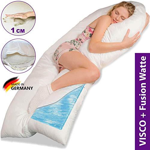 Traumreiter Visco XXL Seitenschläferkissen mit Memory Foam | Gel Schwangerschaftskissen | Gelschaum U Kissen Pregnancy Body Pillow