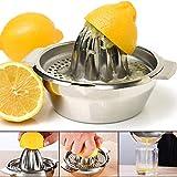 Stainless Steel Citrus Lemon Orange Juicer Manual Hand Squeezer, Juicer Hand Press Manual Juicer Fruit Lemon Lime Orange Squeezer with Bowl Juicer Strainer