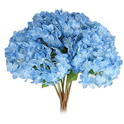 Zhouba - Ortensia artificiale, fiori finti di decorazione per feste nuziali, plastica, Dark Blue, taglia unica