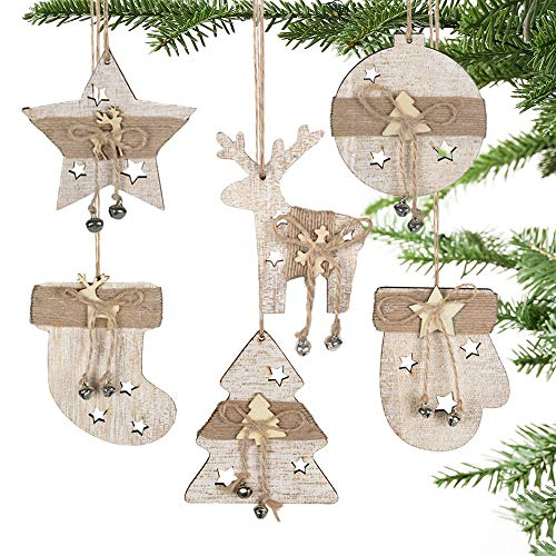 Partybus Christmas Wooden Ornaments Set, Rustic Reindeer Stars Lasered Carved Decorations for Kids Xmas Tree, Unfinished Natural Wood Crafts Gift Tags with Burlap String, 12 pack