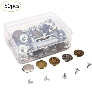 50セットジーンズボタンタックボタン収納ボックス付き金属交換キット、2スタイル、便利で実用的なブロンズ
