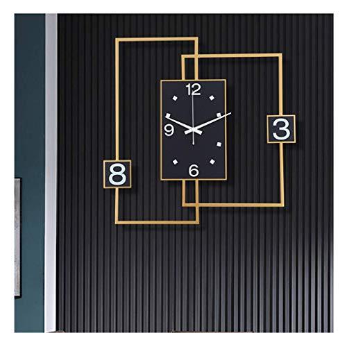 NBVCX Vida hogareña Reloj de Pared de Moda de Hierro Forjado Silencioso sin tictac Calidad Cuarzo Funciona con Pilas Fácil de Leer Decorativo para el Reloj de la Oficina en casa