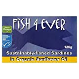 Fish 4 Ever Whole Sardines in Organic Sunflower Oil 120g -