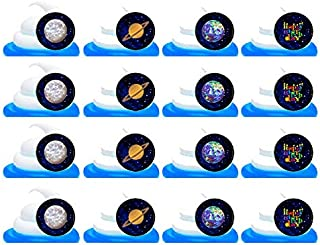 Galaxy Planets Space Easy Toppers Cupcake Decoration Rings -12pk