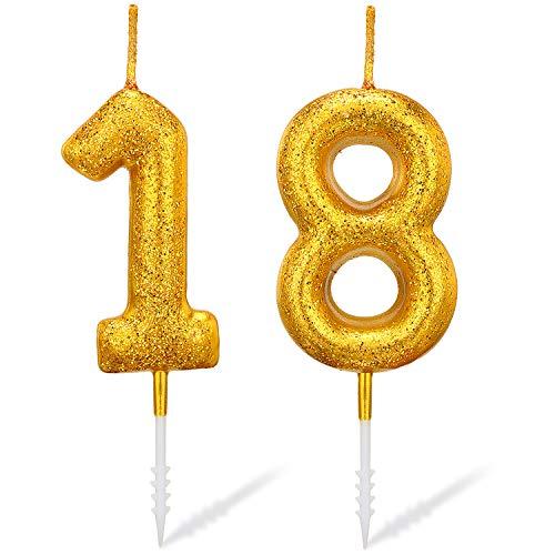 Gold Nummer Kerzen Geburtstagstorte Kerzen Gold Glitzer Zahl Kerze für Geburtstag Hochzeitstag Festival Abschlussfeier Outdoor Aktivitäten (Nummer 18)